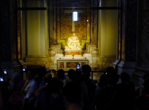 Once inside, follow the crowds to Michelangelo's Pietà. It is the first of four that he created in his lifetime and is thought to be the best.