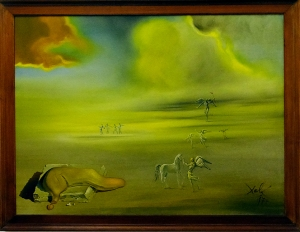 Toward the end of the tour are the works of the modern masters, such as this work by Salvador Dali. (Soft Monster in Angelic Landscape, 1977)