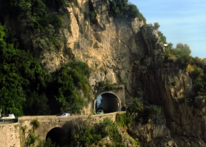 Click this photo for a short video captured aboard the bus during the ride along the narrow, cliffside road above the Amalfi Coast.