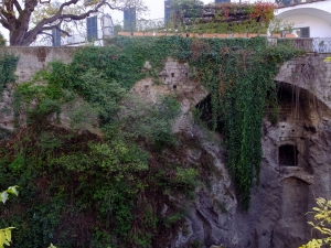 Old abandoned caves built into cliffsides can be seen in several locations.