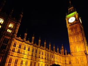 This section of London is bathed in dramatic lighting at night, Big Ben included.