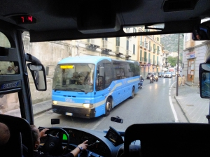 When our week in Campania was over, we took the cheap and convenient morning shuttle bus from the Sorrento rail station directly to the Naples airport.