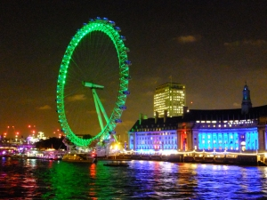 Across the Thames is the famous London Eye.