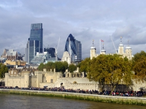 The new is juxtaposed with the old everywhere in London. The city's modern skyline, seeded with constuction cranes, provides the backdrop for the Tower of London. You can see by the crowds that it's a popular destination.