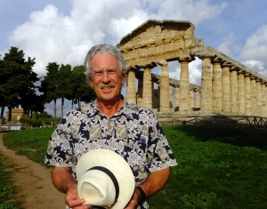 Here I'm standing in front of the Temple of Athena, c. 500 B.C. Worshipers of the time also would have stood on this spot outside. Since temples were considered the homes of deities, the inner sanctums were open only to priests and their attendants.