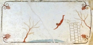The Tomb of the Diver, c. 480-470 BC, is arguably the most amazing antiquity in the museum. This panel from the lid of the tomb shows a man diving from life (the known) into death (the unknown). The three columns he leapt off of were on the Rock of Gibraltar, which, at the time, was the limit of the known world.