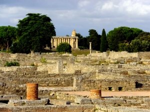 The temples seem to rise out of the expansive ruins of Paestum. This Roman town was built right over the original Greek settlement of Poseidonia in the 3rd century BC.