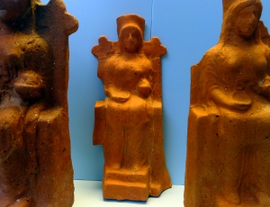 Ancient votive offerings depict Hera on her throne. As wife of Zeus and Queen of Heaven, she had a very large cult following.