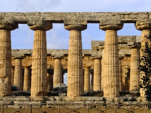 The Temple of Hera has a colonnade right down its center that helped support the roof.
