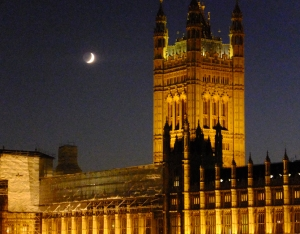 And later, over the Houses of Parliament.
