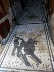 "One entrance to a lavish private home has ""Cave Canem"" (Beware of the Dog) integrated in the tile floor."