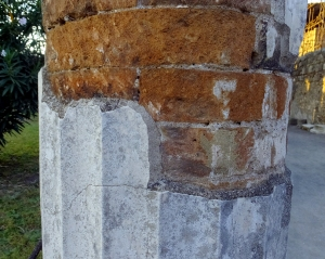 Speaking of columns, this pillar reveals the fact that they were not carved from marble, as one might think, but were constructed of brick and then coated in plaster to make the vertical fluting.