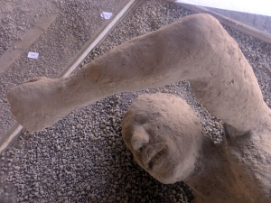 Over the centuries their bodies had decayed to nothing. Archaeologists poured plaster into the voids they left, thus preserving their tortured poses.