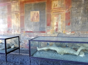Of course we saw the plaster casts of the citizens of Pompeii, whose forms were caught in their final moments of agony.