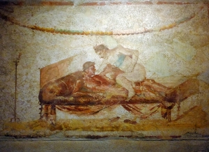 Some of the rooms in the brothel were decorated with ancient erotic frescoes.