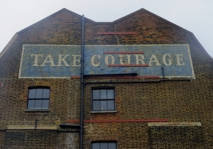 London is in many ways a living history exhibit. This is an old, so-very-British advertising slogan for Courage Beer.