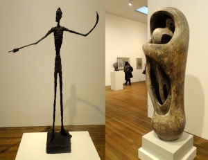 The Tate exhibits works by many world-famous modern artists. The sculpture on the left is Man Pointing by Alberto Giacometti. On the right is Upright Internal/External Form by Henry Moore.