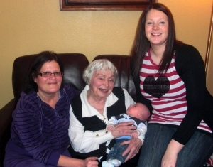 Our adopted family in Cappoquin includes retired travel writer Susan Poole McGraw. She is shown here with her granddaughter Dee (left), her great granddaughter Ashley (right), and her great great grandson Daniel (in Susan's arms).