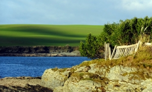 This view is in the area known as Oysterhaven. I love how all the elements in this photo come together - the rocks, the fence, the water, the green, and the shadows of couds on the hillside.