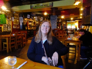 After wandering the town window shopping, we had lunch in Murphy's Restaurant. We loved eating in Irish pubs. The fish and chips are grand in each and every one! Here my sister, Carolyn, waits for hers.