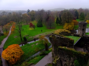 We visited on a drizzly day in November. The crowds were thinner than in the high season. Best of all, the light mist made all the colors of the beautifully landscaped castle grounds rich and vibrant.