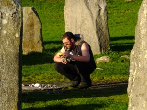 Drombeg is also known as the Druid's Altar. Here my son Joe, who found himself quite moved by the experience, contemplates his offering.