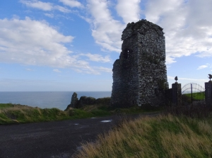 This ruin stands at the entrance to the Old Head Golf Club. Old Head is a peninsula that juts out into the Celtic Sea near Kinsale. It was just off this coast that the Lusitania was sunk.