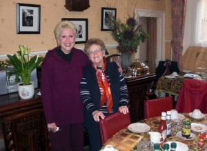 Sarah with her friend Evelyn Flynn, who, along with her daughter Sandra, owns and runs Flynn's Riverview Bed and Breakfast.