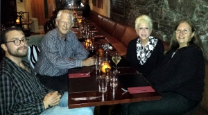Kinsale is also a world-famous gastronomic destination. Here, Sarah and I, along with my son, Joe (left), and my sister, Carolyn (right), enjoy a fine meal to celebrate Carolyn's birthday.