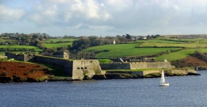 Charles Fort stands guard over the entrance to Kinsale's harbor. It is a star fort, so named because the bastions form a star shape for improved defensive capabilities. Anyone approaching the walls would be caught in a crossfire.