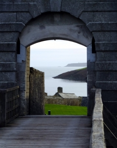 The land approach to the fort was guarded by a drawbridge over a moat.