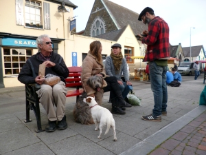 We spent four wonderful weeks in and around Kinsale, three of them with family visiting. This photo was taken by Sarah's sister, Deas. Yes, I'm guilty of sharing my snack with the little dog.