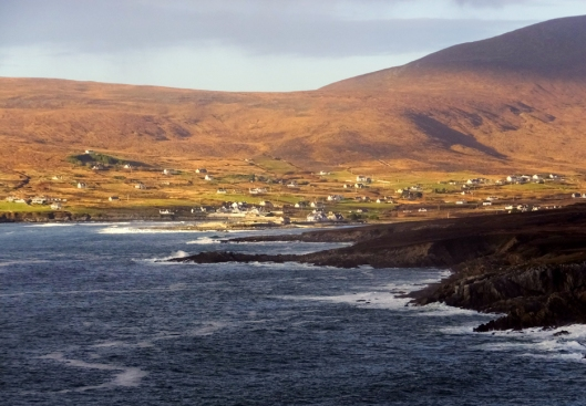 Achill Island in County Mayo is the largest island off the coast of Ireland. It has a population of around 2,600, down from around 6,000 before the Great Hunger in the 1840s.