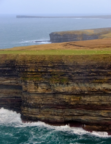 Céide Fields is situated on imposing cliffs overlooking the Atlantic. For a sense of scale in this view, those little white specks in the green patch are sheep in a grassy pasture at the top of the cliff.