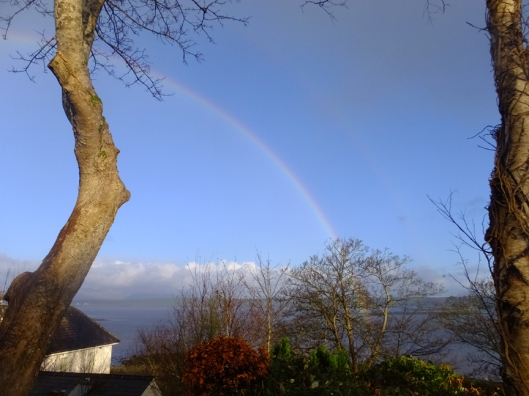 Rainbows are pretty much an everyday occurrence in western Ireland. This double beauty was visible from our yard.