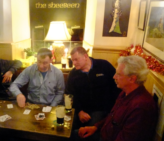 Our hosts are regulars at Cronin's. Here I am enjoying losing money in a friendly game of blackjack at the Sheebeen with host Brian (center) and his friends.