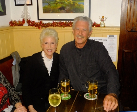 Here we are enjoying hot cider on Christmas Eve in Cronin's Sheebeen.