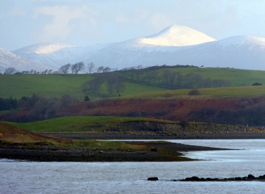 This is the view from our cottage just west of Westport, looking north across Clew Bay. Being from Florida, we were delighted to awake one morning to the sight of snow on distant mountains.