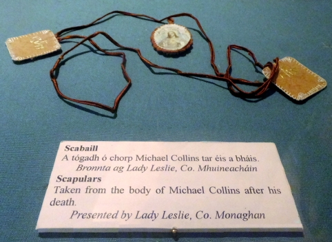 These religious tokens were worn by Michael Collins, who survived the Rising and went on to help lead the nation to independence. He would later be gunned down in an ambush by other Irishmen during the country's Civil War in the 1920s.