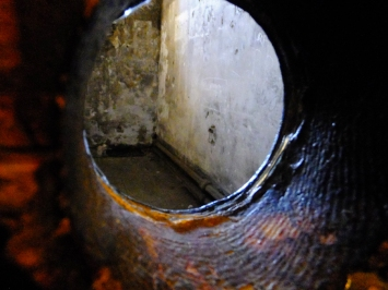 As you might imagine, conditions were brutal and inhumane in this dark, cold place. This is a view into a cell through the guard's peep hole.