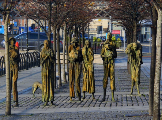 The darkest chapters of Ireland's history are also memorialized. These life-sized sidewalk sculptures hauntingly depict the Great Famine of the 1840s.
