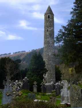 A well-preserved round tower stands in the graveyard. These towers were used as a last defensive resort. The only entrance was high up the tower, and the ladder could be pulled inside.
