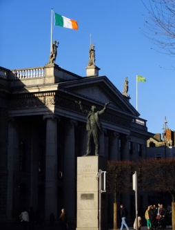 Patriots comandeered this building, the General Post Office (GPO), in hope of sparking a national rebellion that would free Ireland from British domination. Overwhelming British force put down the rebellion, but the event ultimately succeeded in hastening the end of British rule.