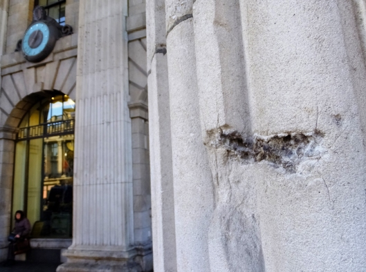 Numerous bullet holes and other battle damage from the Easter Rising remain outside the GPO to this day, as reminders that Ireland's independence was won at great cost.