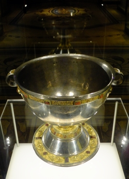 A vast display of Ireland's ancient artisitc treasures are on display here. This chalice is from the ninth century.